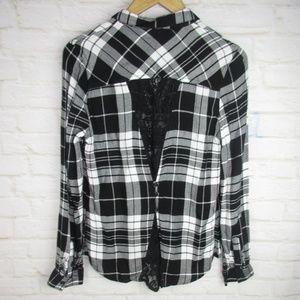 Tops - Stitchfix women's Black Plaid Lace Back Shirt